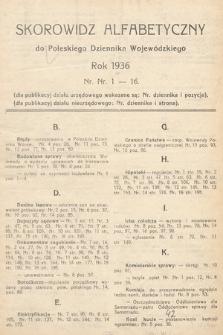 Poleski Dziennik Wojewódzki. 1936, skorowidz alfabetyczny