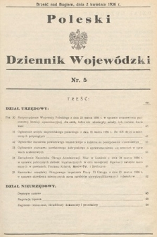 Poleski Dziennik Wojewódzki. 1936, nr5