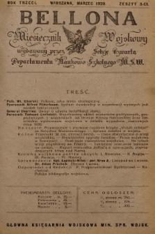 Bellona : miesięcznik wojskowy wydawany przez Sekcję Czwartą Departamentu Naukowo-Szkolnego M. S. W. R.3, 1920, Zeszyt3