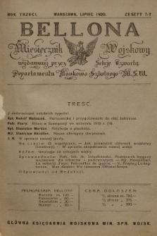 Bellona : miesięcznik wojskowy wydawany przez Sekcję Czwartą Departamentu Naukowo-Szkolnego M. S. W. R.3, 1920, Zeszyt7