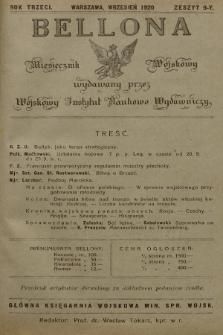 Bellona : miesięcznik wojskowy wydawany przez Wojskowy Instytut Naukowo Wydawniczy. R.3, 1920, Zeszyt9