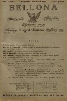 Bellona : miesięcznik wojskowy wydawany przez Sekcję Czwartą Departamentu Naukowo-Szkolnego M. S. W. R.3, 1920, Zeszyt12
