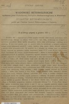 Wiadomości Meteorologiczne = Bulletin Mètèorologique. 1922, nr1