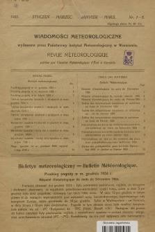 Wiadomości Meteorologiczne = Bulletin Mètèorologique. 1925, nr1-3