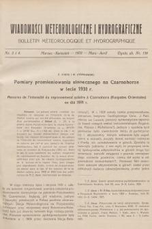 Wiadomości Meteorologiczne i Hydrograficzne = Bulletin Météorologique et Hydrographique. 1932, nr3-4 + wkładka