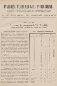 Wiadomości Meteorologiczne i Hydrograficzne = Bulletin Météorologique et Hydrographique. 1932, nr9-10