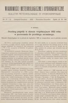 Wiadomości Meteorologiczne i Hydrograficzne = Bulletin Météorologique et Hydrographique. 1932, nr11-12