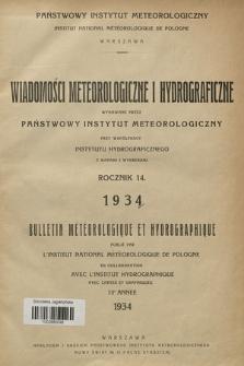 Wiadomości Meteorologiczne i Hydrograficzne = Bulletin Météorologique et Hydrographique. 1934, Spis rzeczy