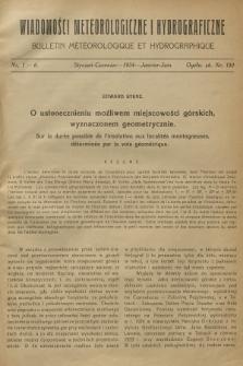 Wiadomości Meteorologiczne i Hydrograficzne = Bulletin Météorologique et Hydrographique. 1934, nr1-6 + wkładka