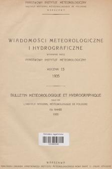 Wiadomości Meteorologiczne i Hydrograficzne = Bulletin Météorologique et Hydrographique. 1935, Spis rzeczy