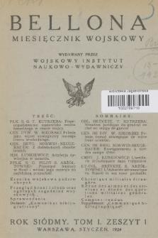 Bellona : miesięcznik wojskowy wydawany przez Wojskowy Instytut Naukowo-Wydawniczy. R.7, T.13, 1924, Spis rzeczy