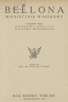 Bellona : miesięcznik wojskowy wydawany przez Wojskowy Instytut Naukowo-Wydawniczy. R.7, T.14, 1924, Spis rzeczy