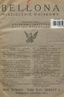 Bellona : miesięcznik wojskowy wydawany przez Wojskowy Instytut Naukowo-Wydawniczy. R.7, T.16, 1924, Zeszyt 1