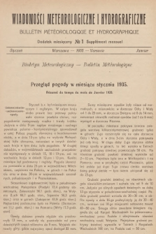Wiadomości Meteorologiczne i Hydrograficzne. Dodatek miesięczny = Bulletin Météorologique et Hydrographique. Supplément Mensuel. 1935, №1 + wkładka