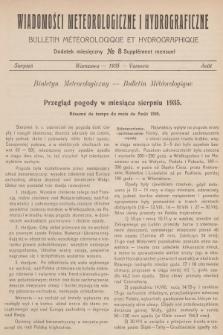 Wiadomości Meteorologiczne i Hydrograficzne. Dodatek miesięczny = Bulletin Météorologique et Hydrographique. Supplément Mensuel. 1935, №8 + wkładka