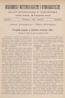 Wiadomości Meteorologiczne i Hydrograficzne. Dodatek miesięczny = Bulletin Météorologique et Hydrographique. Supplément Mensuel. 1935, №9 + wkładka