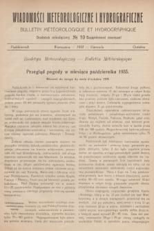 Wiadomości Meteorologiczne i Hydrograficzne. Dodatek miesięczny = Bulletin Météorologique et Hydrographique. Supplément Mensuel. 1935, №10 + wkładka