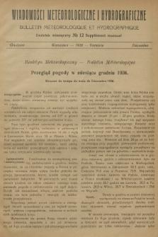 Wiadomości Meteorologiczne i Hydrograficzne. Dodatek miesięczny = Bulletin Météorologique et Hydrographique. Supplément Mensuel. 1936, №12