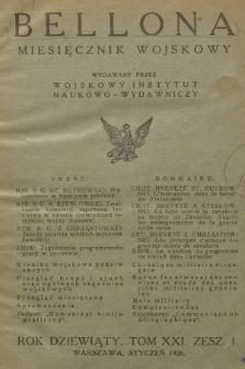 Bellona : miesięcznik wojskowy wydawany przez Wojskowy Instytut Naukowo-Wydawniczy. R.9, T.21, 1926, Spis rzeczy
