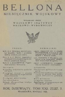 Bellona : miesięcznik wojskowy wydawany przez Wojskowy Instytut Naukowo-Wydawniczy. R.9, T.21, 1926, Zeszyt3