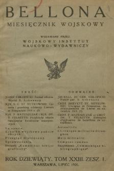 Bellona : miesięcznik wojskowy wydawany przez Wojskowy Instytut Naukowo-Wydawniczy. R.9, T.23, 1926, Spis rzeczy