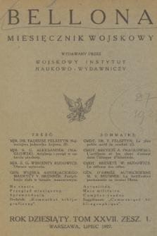 Bellona : miesięcznik wojskowy wydawany przez Wojskowy Instytut Naukowo-Wydawniczy. R.10, T.27, 1927, Spis rzeczy