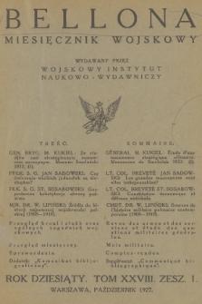 Bellona : miesięcznik wojskowy wydawany przez Wojskowy Instytut Naukowo-Wydawniczy. R.10, T.28, 1927, Spis rzeczy
