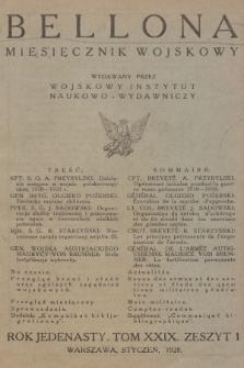 Bellona : miesięcznik wojskowy wydawany przez Wojskowy Instytut Naukowo-Wydawniczy. R.10 [i.e.11], T.29, 1928, Spis rzeczy