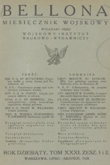 Bellona : miesięcznik wojskowy wydawany przez Wojskowy Instytut Naukowo-Wydawniczy. R.10 [i.e.11], T.31, 1928, Spis rzeczy