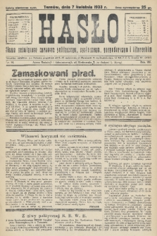 Hasło : pismo poświęcone sprawom politycznym, społecznym, gospodarczym i literackim. R.8, 1933, nr14