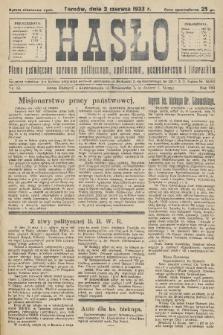 Hasło : pismo poświęcone sprawom politycznym, społecznym, gospodarczym i literackim. R.8, 1933, nr22