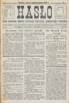 Hasło : pismo poświęcone sprawom politycznym, społecznym, gospodarczym i literackim. R.8, 1933, nr36