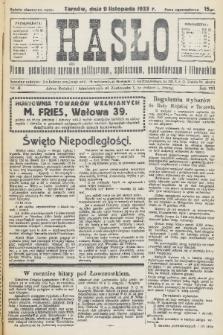 Hasło : pismo poświęcone sprawom politycznym, społecznym, gospodarczym i literackim. R.8, 1933, nr41