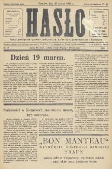 Hasło : pismo poświęcone sprawom politycznym, społecznym, gospodarczym i literackim. R.11, 1936, nr10