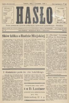 Hasło : pismo poświęcone sprawom politycznym, społecznym, gospodarczym i literackim. R.11, 1936, nr13