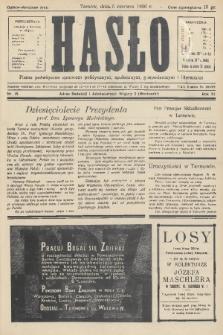 Hasło : pismo poświęcone sprawom politycznym, społecznym, gospodarczym i literackim. R.11, 1936, nr18
