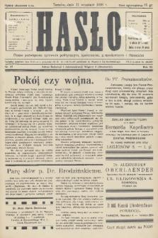 Hasło : pismo poświęcone sprawom politycznym, społecznym, gospodarczym i literackim. R.11, 1936, nr27
