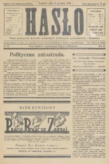 Hasło : pismo poświęcone sprawom politycznym, społecznym, gospodarczym i literackim. R.11, 1936, nr38