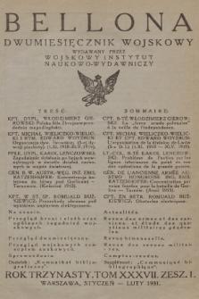 Bellona : dwumiesięcznik wojskowy wydawany przez Wojskowy Instytut Naukowo-Wydawniczy. R.13, T.37, 1931, Spis rzeczy