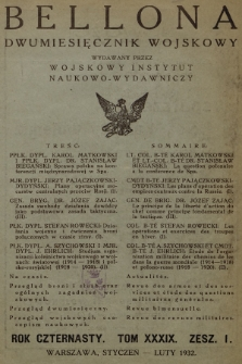 Bellona : dwumiesięcznik wojskowy wydawany przez Wojskowy Instytut Naukowo-Wydawniczy. R.14, T.39, 1932, Spis rzeczy