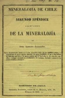 Mineralojía de Chile : segundo apéndice ala 2.a edicion de la Mineralojía
