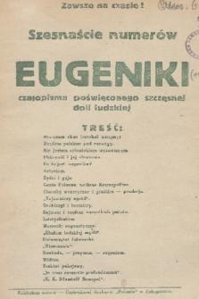 Eugenika : czasopismo poświęcone dobrej doli i pięknej śmierci. R.1, 1918, treść szesnastu numerów [1918-1920] Eugeniki
