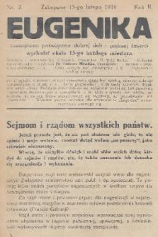 Eugenika : czasopismo poświęcone dobrej doli i pięknej śmierci. R.2, 1919, nr2
