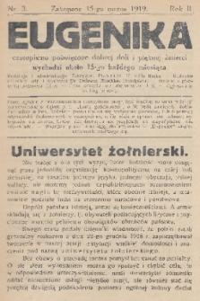 Eugenika : czasopismo poświęcone dobrej doli i pięknej śmierci. R.2, 1919, nr3