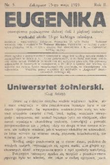 Eugenika : czasopismo poświęcone dobrej doli i pięknej śmierci. R.2, 1919, nr5
