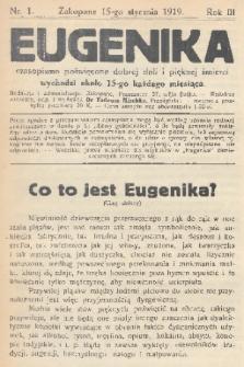 Eugenika : czasopismo poświęcone dobrej doli i pięknej śmierci. R.3, 1920, nr1