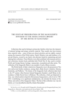 The State of Preservation of the Manuscripts Donated to the Jagiellonian Library by the House of Sanguszko