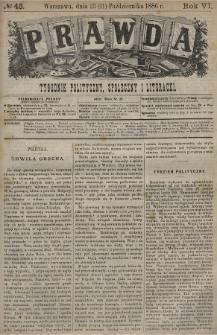 Prawda : tygodnik polityczny, społeczny i literacki. 1886, nr43