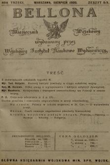 Bellona : miesięcznik wojskowy wydawany przez Sekcję Czwartą Departamentu Naukowo-Szkolnego M. S. W. R.3, 1920, Zeszyt8