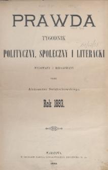 Prawda : tygodnik polityczny, społeczny i literacki. 1893, Spis rzeczy